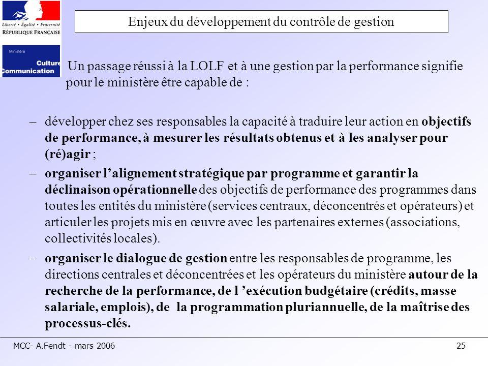 MCC- A.Fendt - mars 200625 Enjeux du développement du contrôle de gestion Un passage réussi à la LOLF et à une gestion par la performance signifie pou