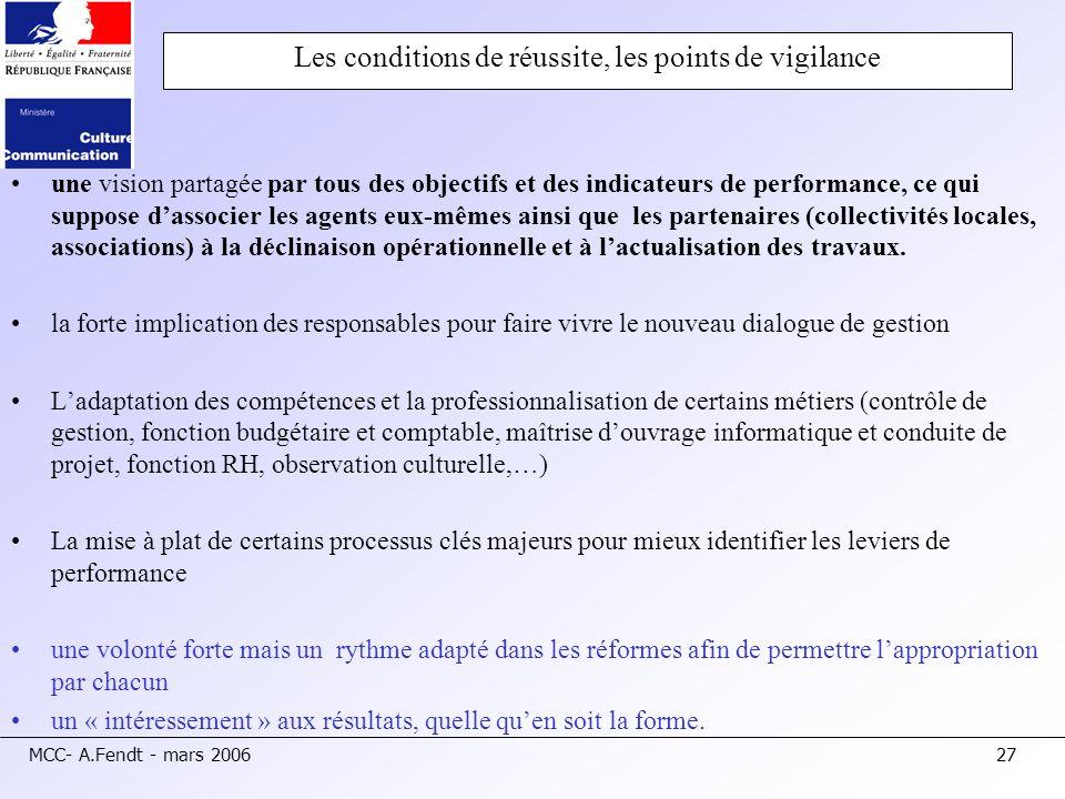 MCC- A.Fendt - mars 200627 Les conditions de réussite, les points de vigilance une vision partagée par tous des objectifs et des indicateurs de perfor