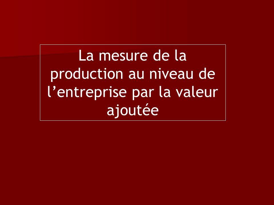 La mesure de la production au niveau de lentreprise par la valeur ajoutée