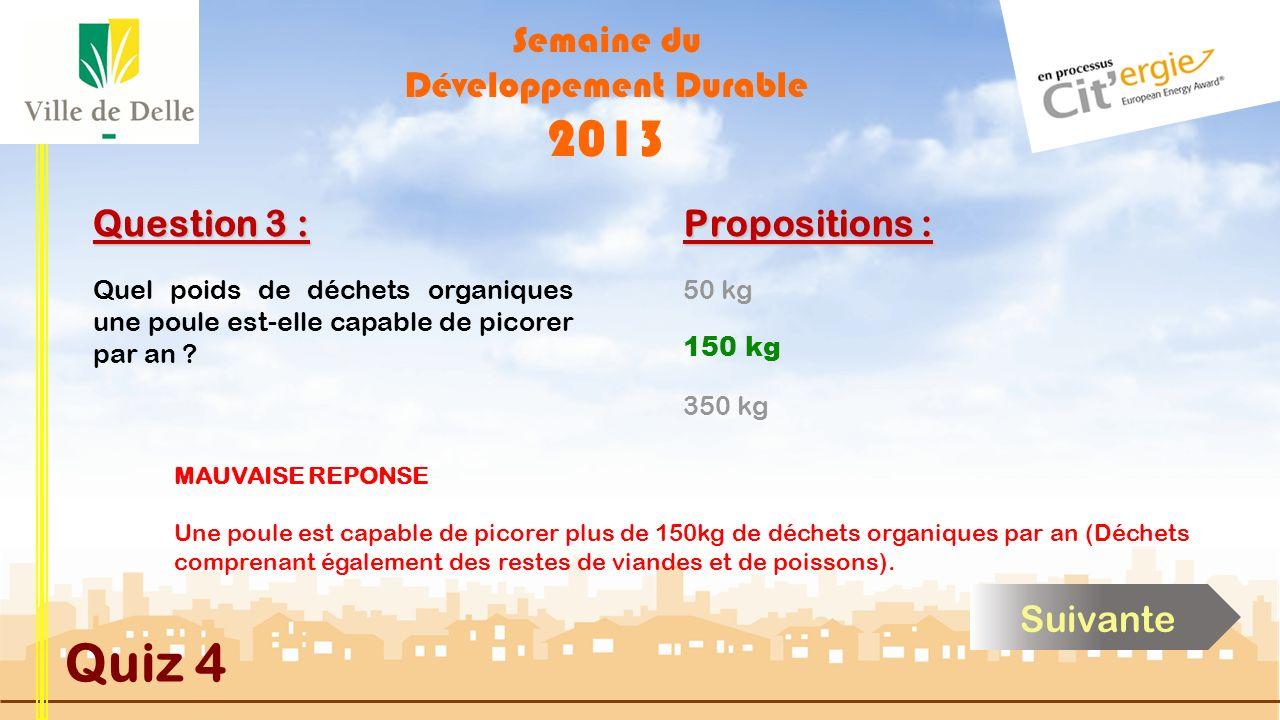Semaine du Développement Durable 2013 Quiz 4 Question 3 : Propositions : BONNE REPONSE Une poule est capable de picorer plus de 150kg de déchets organ