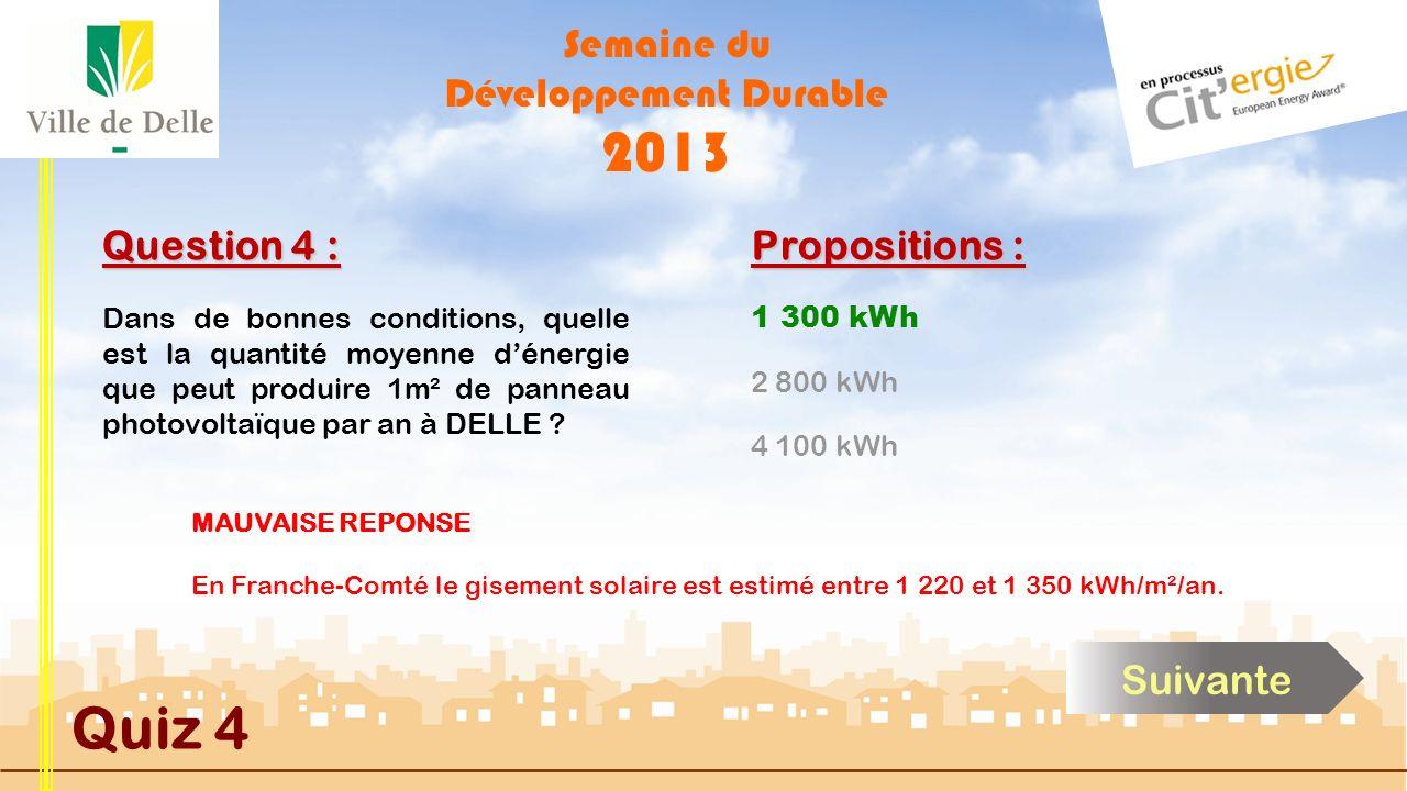 Semaine du Développement Durable 2013 Quiz 4 Question 4 : Propositions : BONNE REPONSE En Franche-Comté le gisement solaire est estimé entre 1 220 et
