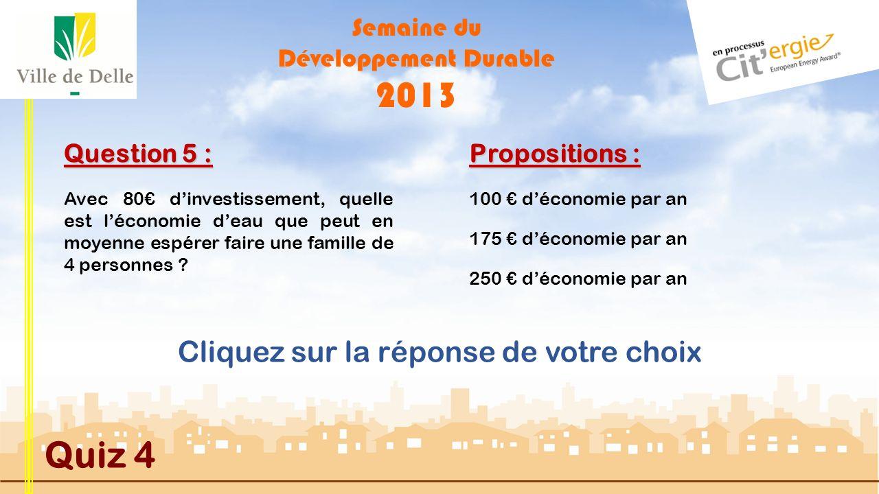 Semaine du Développement Durable 2013 Quiz 4 Question 4 : Propositions : Suivante MAUVAISE REPONSE En Franche-Comté le gisement solaire est estimé ent