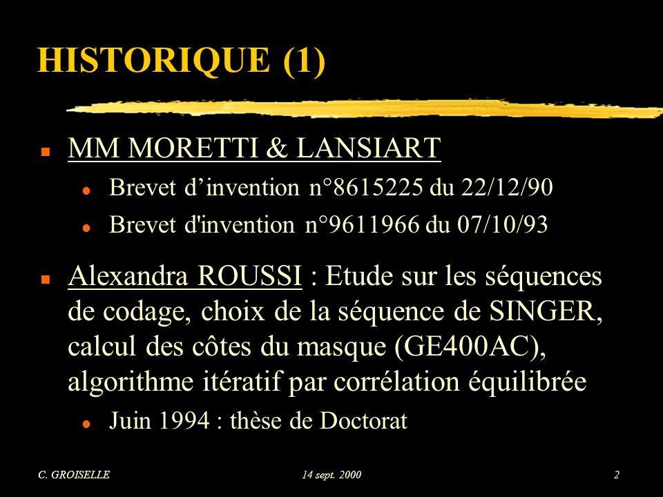 C. GROISELLE14 sept. 200093 Résolution en profondeur - coupe n°1 (2 incidences orthogonales)