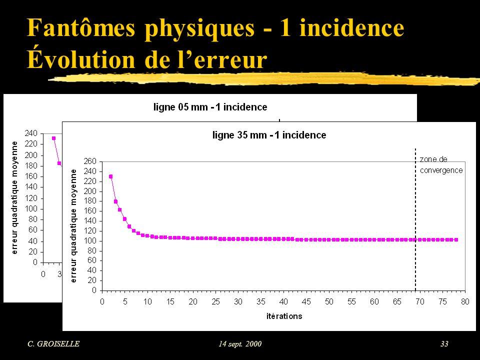 C. GROISELLE14 sept. 200033 Fantômes physiques - 1 incidence Évolution de lerreur
