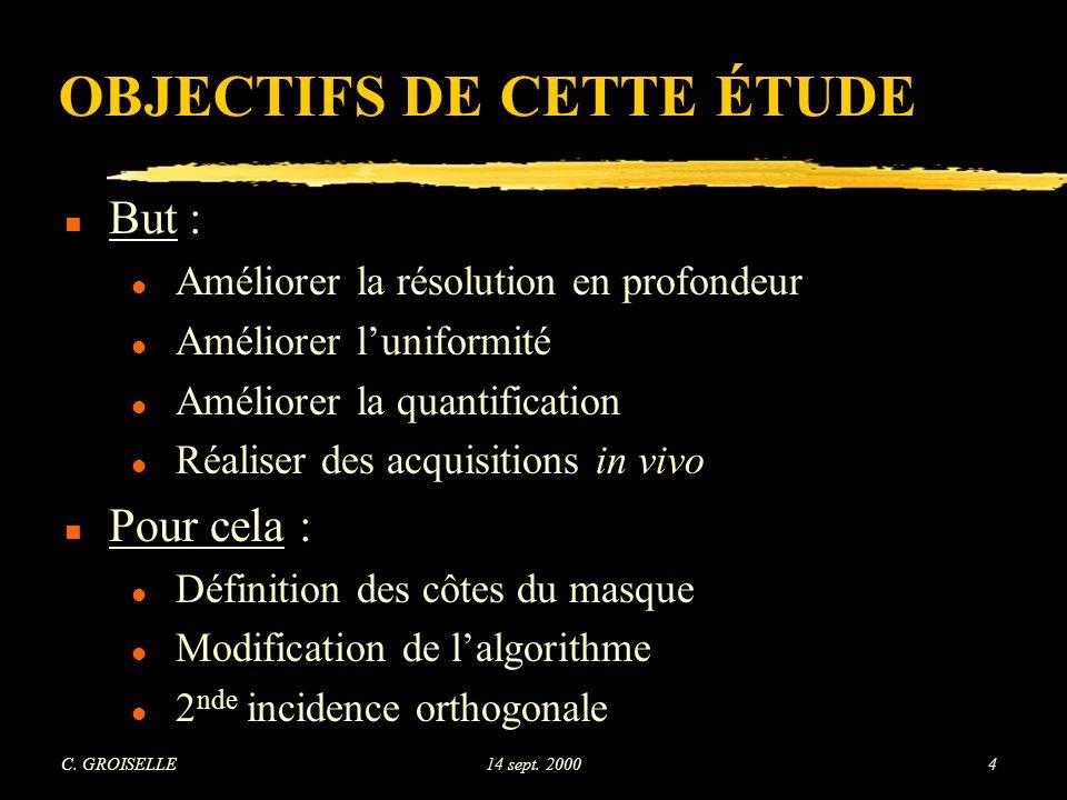 C. GROISELLE14 sept. 200085 Fantômes physiques - 1 incidence Uniformité