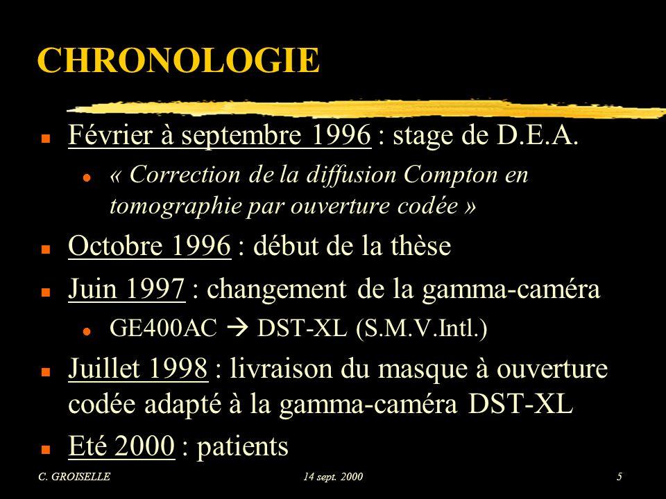 C.GROISELLE14 sept. 20005 CHRONOLOGIE n Février à septembre 1996 : stage de D.E.A.
