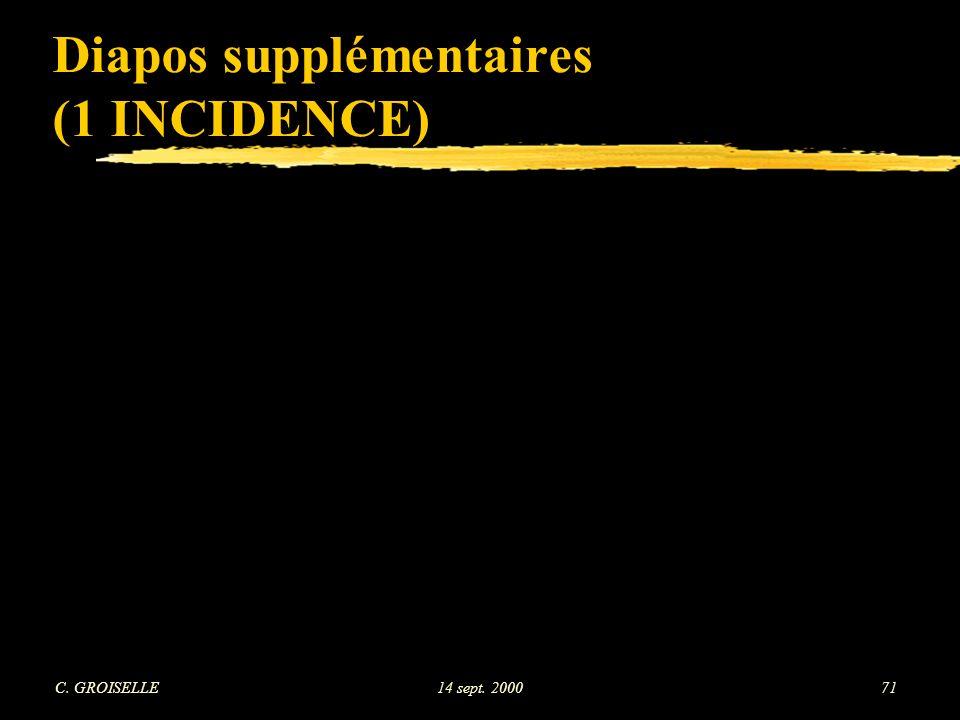 C. GROISELLE14 sept. 200071 Diapos supplémentaires (1 INCIDENCE)
