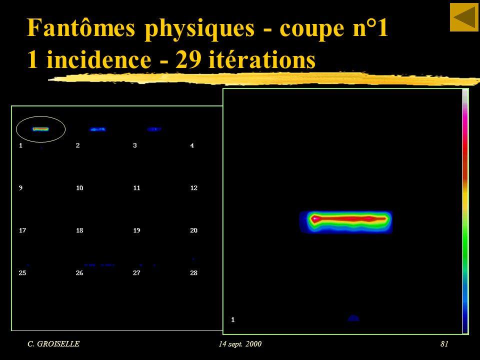 C. GROISELLE14 sept. 200081 Fantômes physiques - coupe n°1 1 incidence - 29 itérations