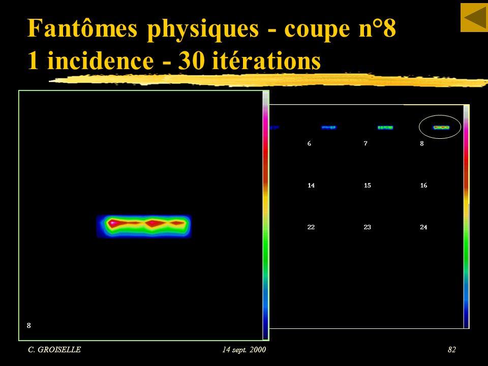 C. GROISELLE14 sept. 200082 Fantômes physiques - coupe n°8 1 incidence - 30 itérations