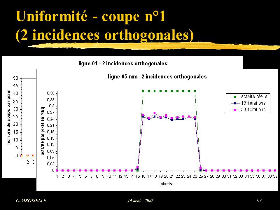 C. GROISELLE14 sept. 200097 Uniformité - coupe n°1 (2 incidences orthogonales)