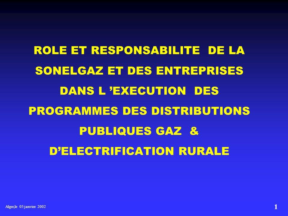 Alger,le 05 janvier 2002 21 NECESSITE DE DISPOSER D UN PLAN PLURIANNUEL Ceci permettrait : Un meilleur développement du réseau transport gaz en terme de cohérence, de fiabilité, d optimisation et de développement des réseaux de distribution gaz et délectricité Meilleure planification des ressources.