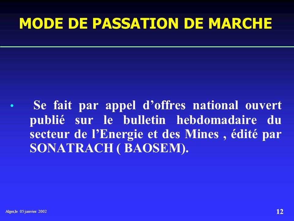 Alger,le 05 janvier 2002 11 5- Le lancement des appels d offres réalisation et mise en place des marchés. 6- Le Suivi et le contrôle des réalisations.