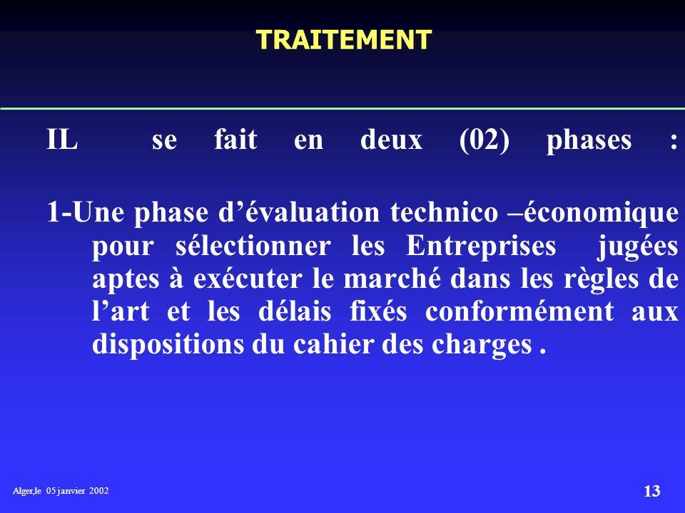 Alger,le 05 janvier 2002 12 MODE DE PASSATION DE MARCHE Se fait par appel doffres national ouvert publié sur le bulletin hebdomadaire du secteur de lE