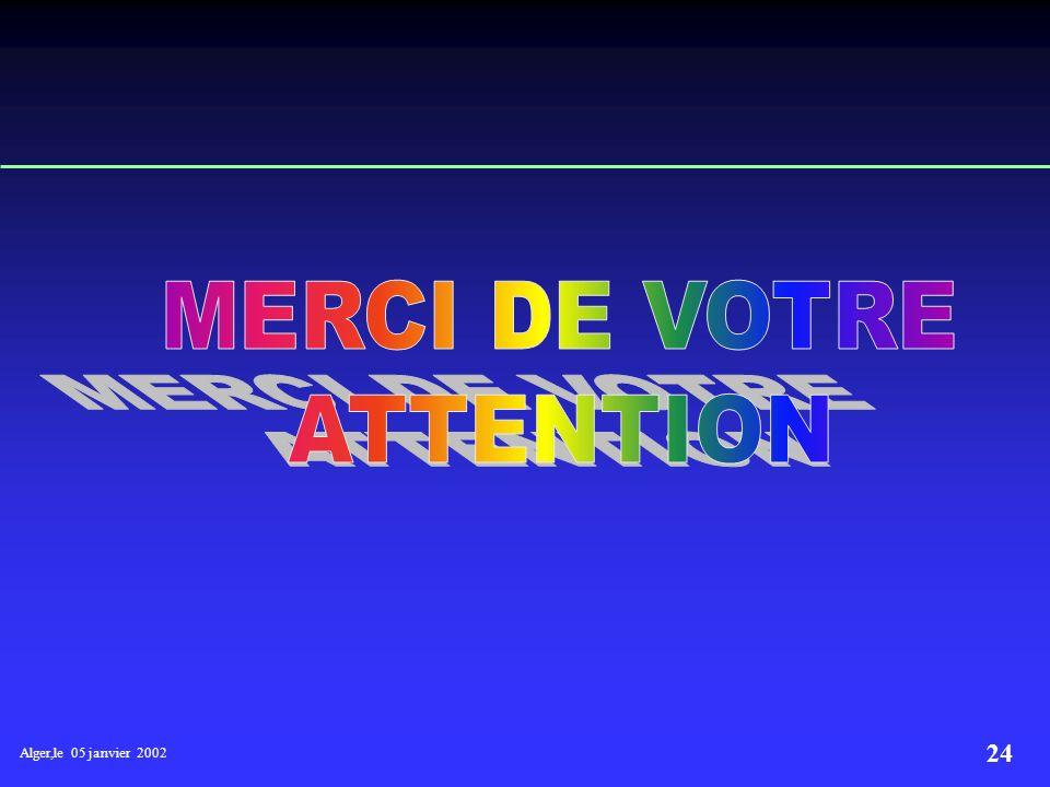 Alger,le 05 janvier 2002 23 NECESSITE D UN SCHEMA DE FINANCEMENT Fixer un mode de financement adapté pour la durée du plan qui garantit les équilibres