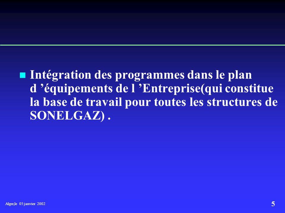 Alger,le 05 janvier 2002 5 Intégration des programmes dans le plan d équipements de l Entreprise(qui constitue la base de travail pour toutes les structures de SONELGAZ).
