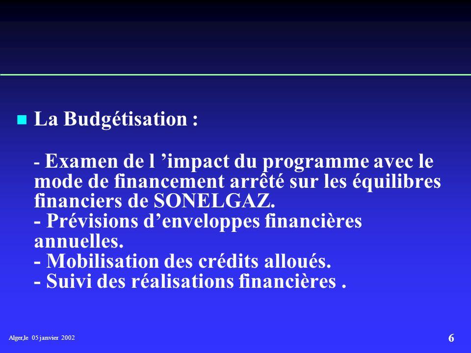 Alger,le 05 janvier 2002 6 La Budgétisation : - Examen de l impact du programme avec le mode de financement arrêté sur les équilibres financiers de SONELGAZ.