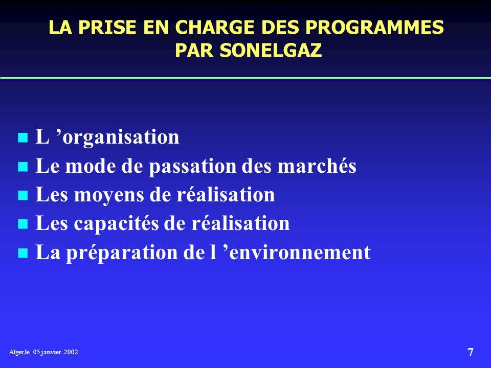 Alger,le 05 janvier 2002 7 LA PRISE EN CHARGE DES PROGRAMMES PAR SONELGAZ L organisation Le mode de passation des marchés Les moyens de réalisation Les capacités de réalisation La préparation de l environnement