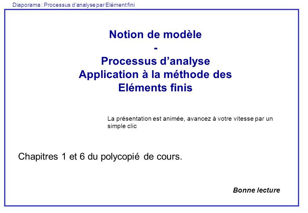 Diaporama : Processus danalyse par Elément fini Notion de modèle - Processus danalyse Application à la méthode des Eléments finis Chapitres 1 et 6 du polycopié de cours.