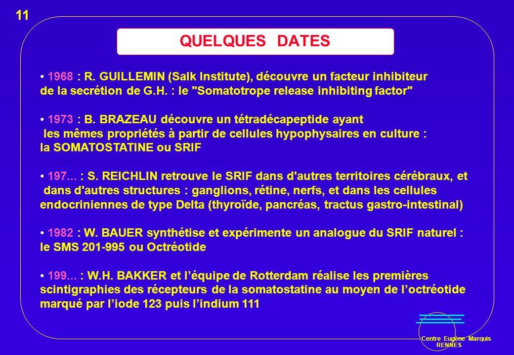 Centre Eugène Marquis RENNES QUELQUES DATES 1968 : R. GUILLEMIN (Salk Institute), découvre un facteur inhibiteur de la secrétion de G.H. : le
