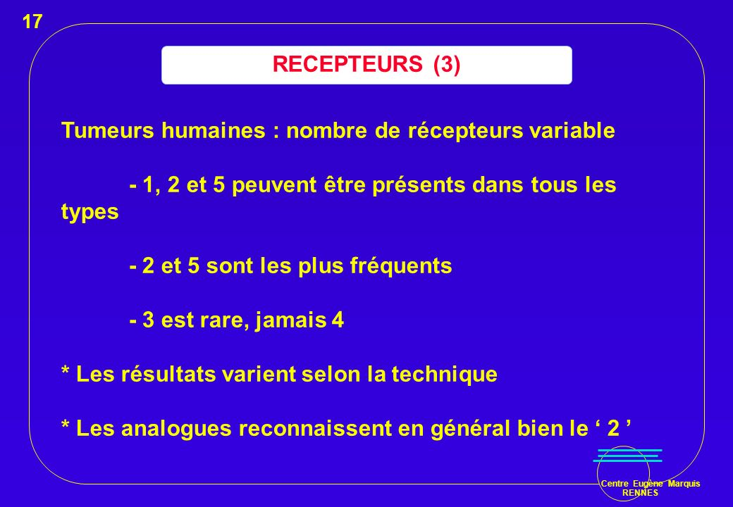 Centre Eugène Marquis RENNES RECEPTEURS (3) Tumeurs humaines : nombre de récepteurs variable - 1, 2 et 5 peuvent être présents dans tous les types - 2