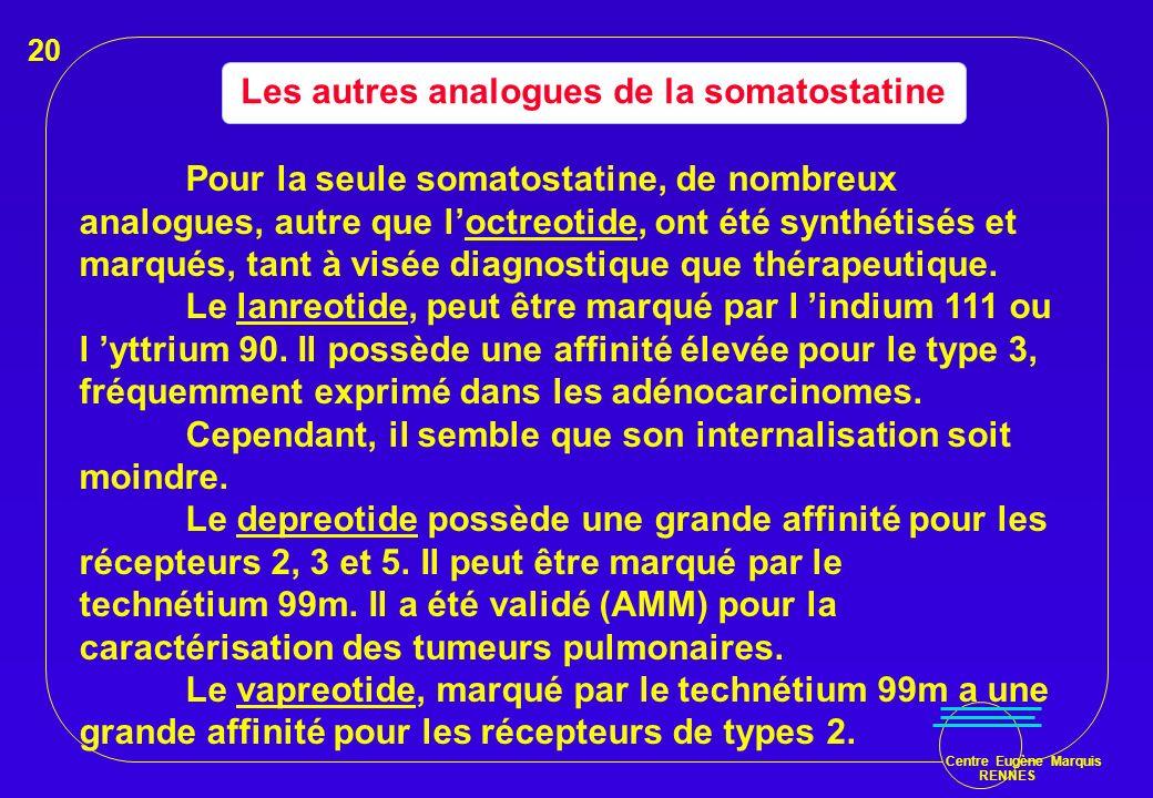 Centre Eugène Marquis RENNES Les autres analogues de la somatostatine Pour la seule somatostatine, de nombreux analogues, autre que loctreotide, ont é