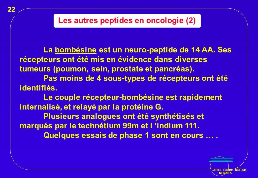Centre Eugène Marquis RENNES Les autres peptides en oncologie (2) La bombésine est un neuro-peptide de 14 AA. Ses récepteurs ont été mis en évidence d