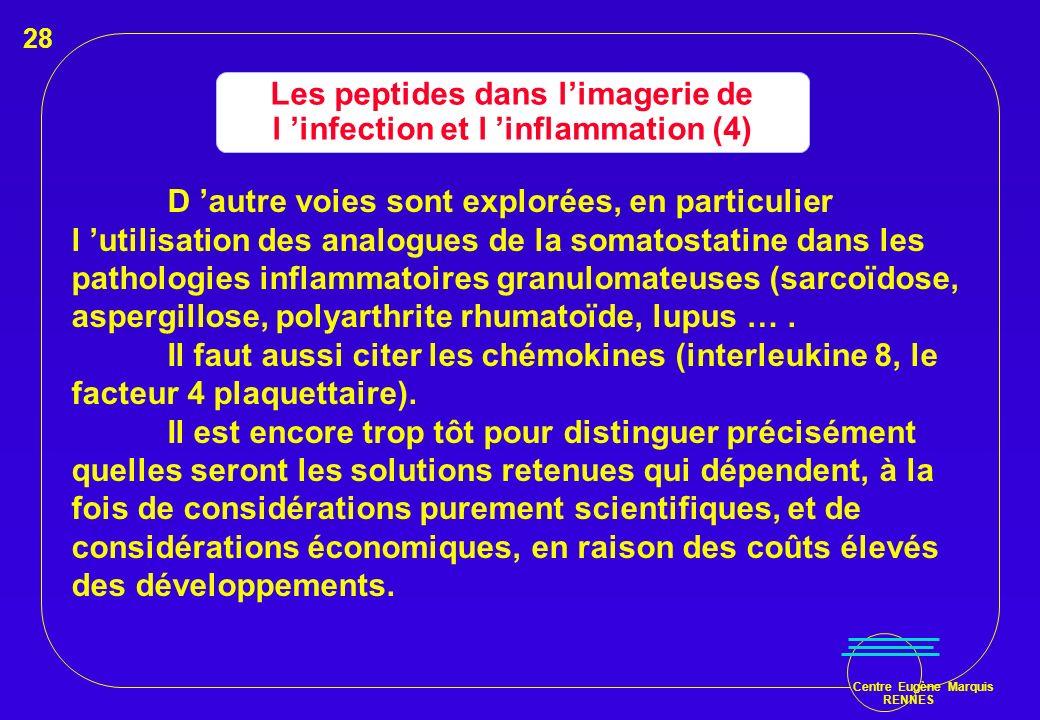 Centre Eugène Marquis RENNES Les peptides dans limagerie de l infection et l inflammation (4) D autre voies sont explorées, en particulier l utilisati