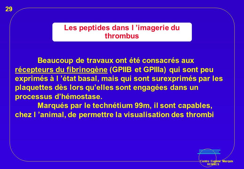 Centre Eugène Marquis RENNES Les peptides dans l imagerie du thrombus Beaucoup de travaux ont été consacrés aux récepteurs du fibrinogène (GPIIB et GP