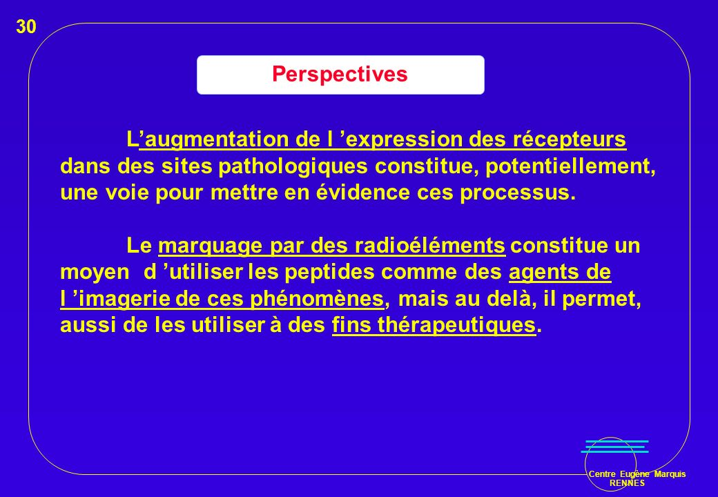 Centre Eugène Marquis RENNES Perspectives Laugmentation de l expression des récepteurs dans des sites pathologiques constitue, potentiellement, une vo