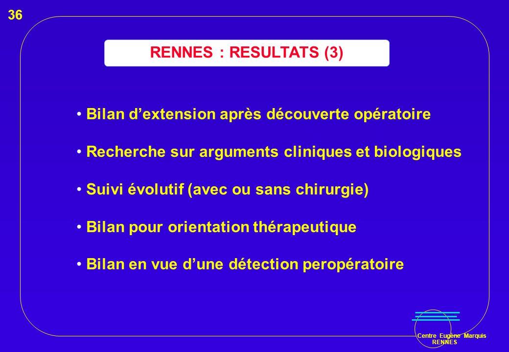Centre Eugène Marquis RENNES RENNES : RESULTATS (3) Bilan dextension après découverte opératoire Recherche sur arguments cliniques et biologiques Suiv