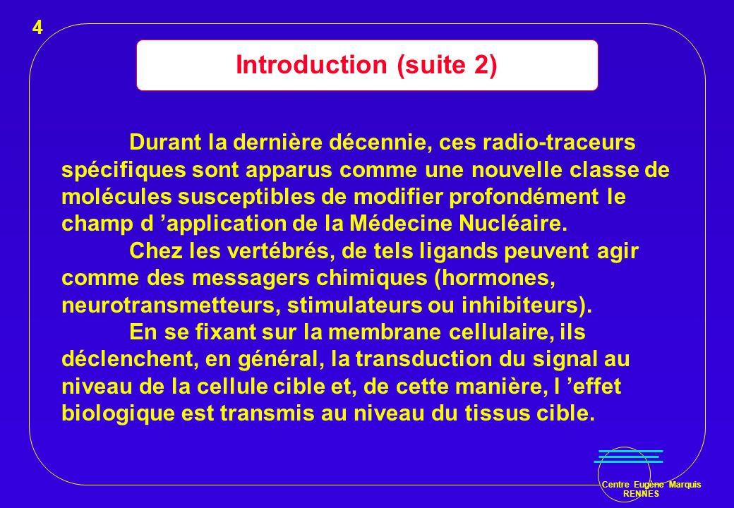 Centre Eugène Marquis RENNES Introduction (suite 3) Cette propriété particulière qua le ligand de se fixer sur des récepteurs spécifiques peut être utilisée, en le marquant avec un radio-émetteur, aussi bien à des fins diagnostiques que thérapeutiques.