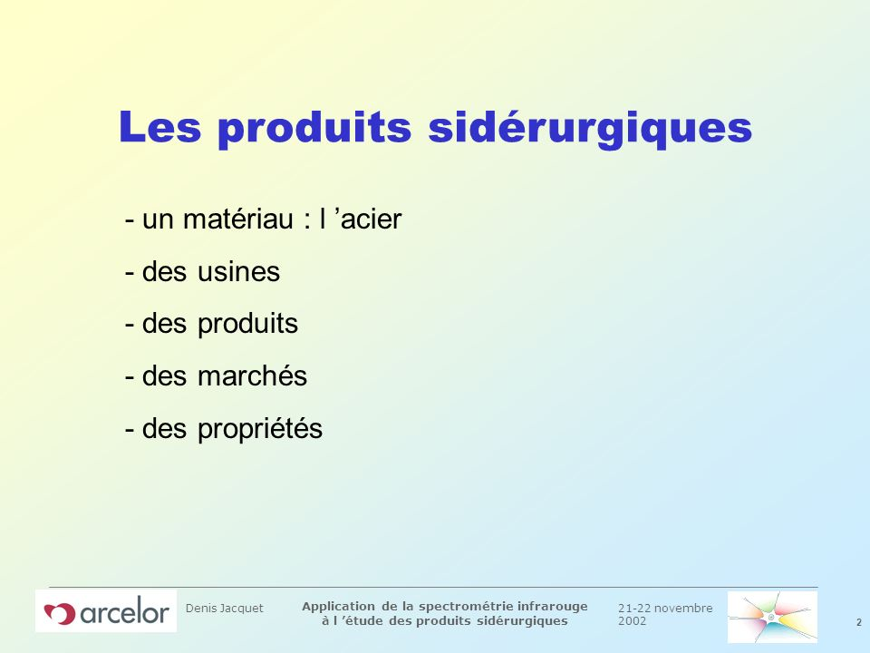 21-22 novembre 2002 3 Application de la spectrométrie infrarouge à l étude des produits sidérurgiques Denis Jacquet Quelques définitions n Lacier mélange du fer et du carbone en faible quantité (<1%).