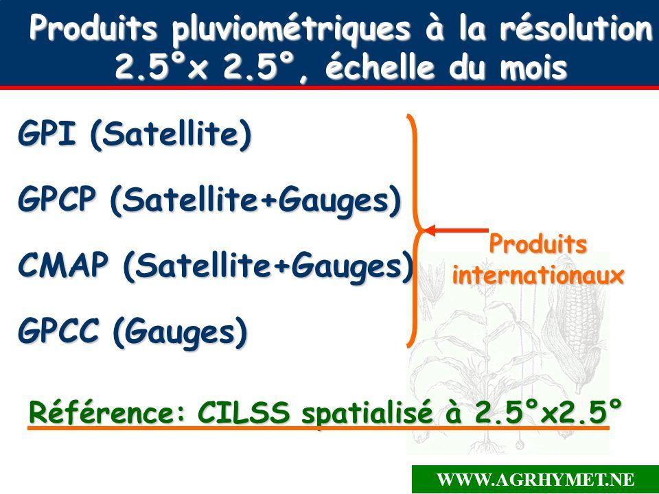 WWW.AGRHYMET.NE Produits pluviométriques à la résolution 2.5°x 2.5°, échelle du mois GPI (Satellite) GPCP (Satellite+Gauges) CMAP (Satellite+Gauges) GPCC (Gauges) Produits internationaux Référence: CILSS spatialisé à 2.5°x2.5°