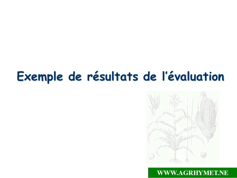 Exemple de résultats de lévaluation