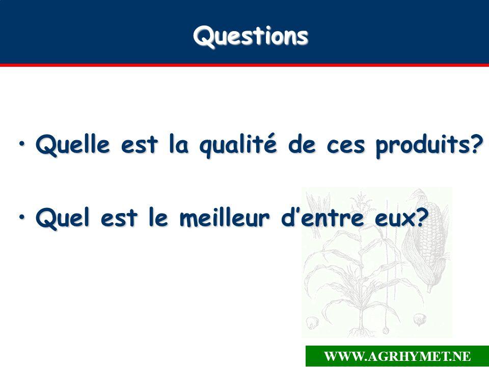 WWW.AGRHYMET.NE Questions Quelle est la qualité de ces produits?Quelle est la qualité de ces produits.