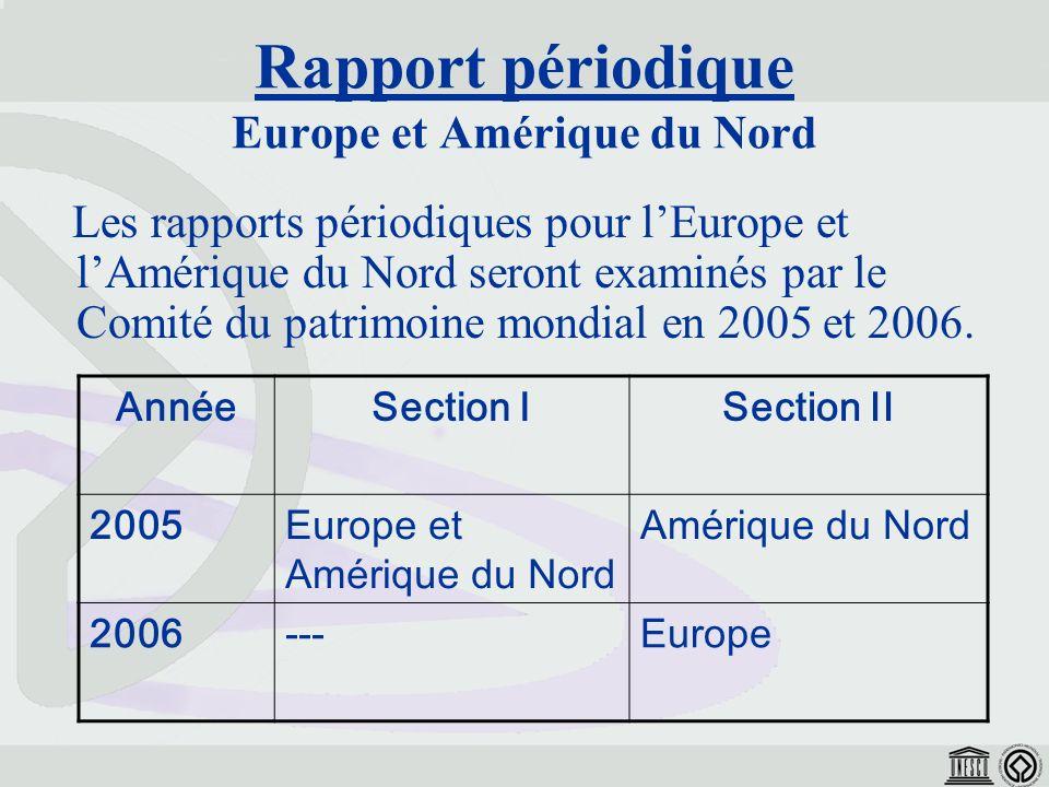 Les rapports périodiques pour lEurope et lAmérique du Nord seront examinés par le Comité du patrimoine mondial en 2005 et 2006.