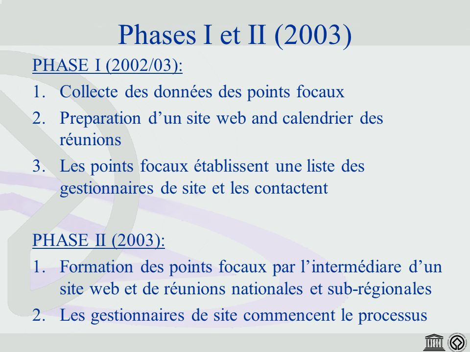 Phases I et II (2003) PHASE I (2002/03): 1.Collecte des données des points focaux 2.Preparation dun site web and calendrier des réunions 3.Les points focaux établissent une liste des gestionnaires de site et les contactent PHASE II (2003): 1.Formation des points focaux par lintermédiare dun site web et de réunions nationales et sub-régionales 2.Les gestionnaires de site commencent le processus