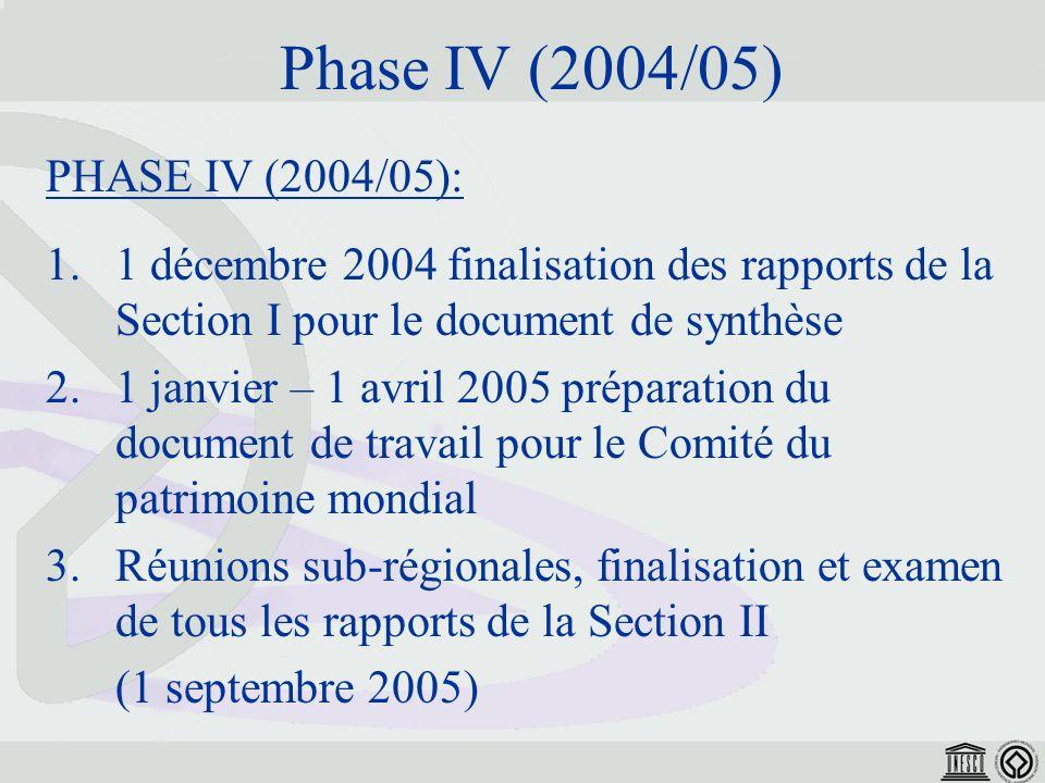 Phase IV (2004/05) PHASE IV (2004/05): 1.1 décembre 2004 finalisation des rapports de la Section I pour le document de synthèse 2.1 janvier – 1 avril 2005 préparation du document de travail pour le Comité du patrimoine mondial 3.Réunions sub-régionales, finalisation et examen de tous les rapports de la Section II (1 septembre 2005)