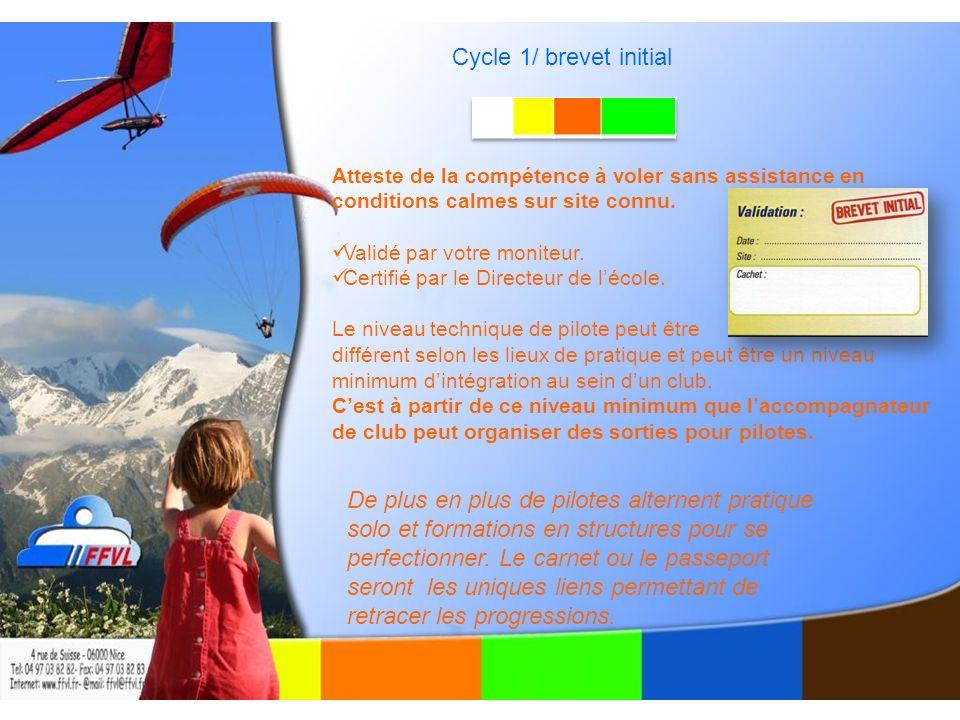 Cycle 1/ brevet initial Atteste de la compétence à voler sans assistance en conditions calmes sur site connu.
