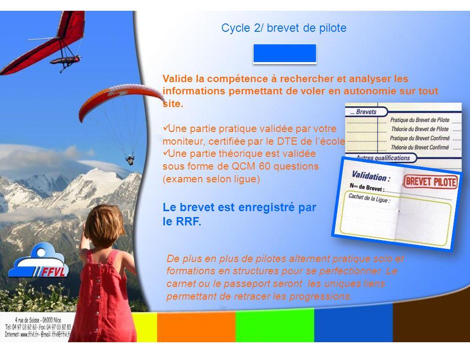 Cycle 2/ brevet de pilote Valide la compétence à rechercher et analyser les informations permettant de voler en autonomie sur tout site.