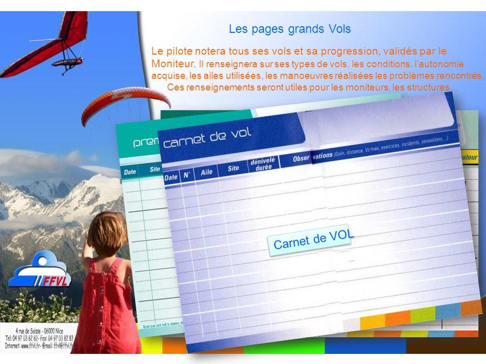 Les pages grands Vols Le pilote notera tous ses vols et sa progression, validés par le Moniteur.