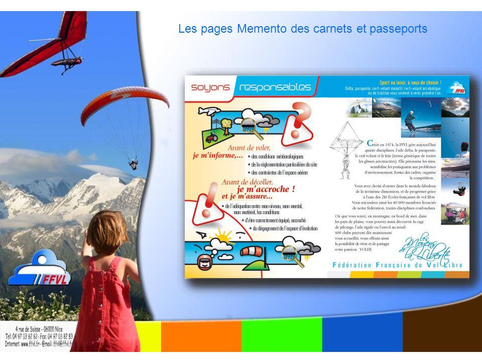Les pages Memento des carnets et passeports