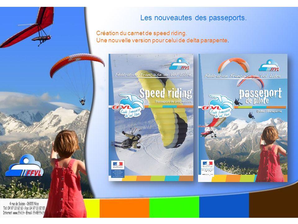 Les nouveautes des passeports. Création du carnet de speed riding.