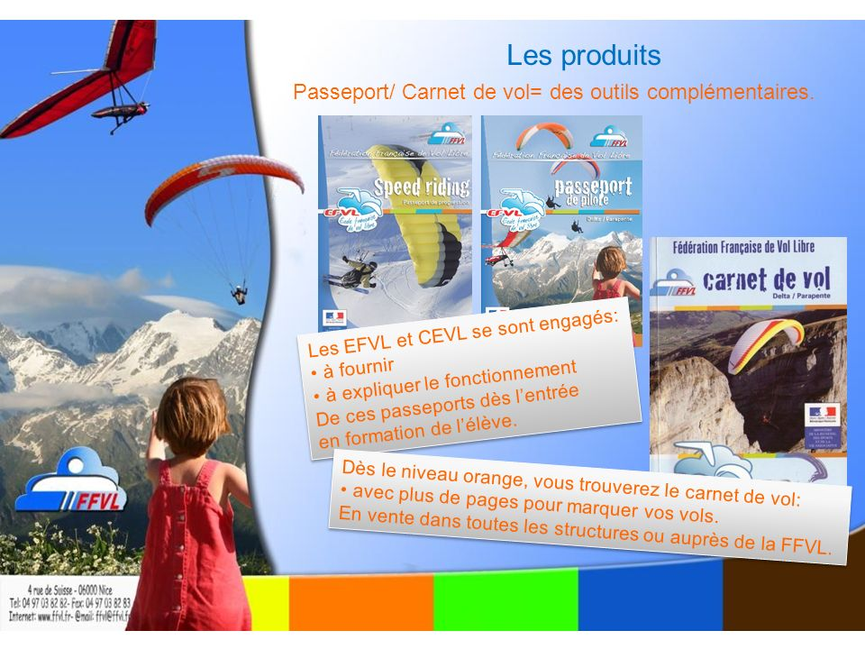 Les produits Passeport/ Carnet de vol= des outils complémentaires.