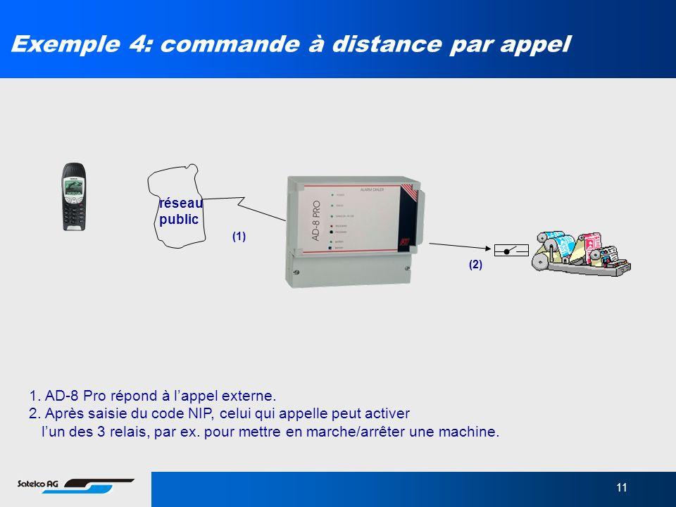 11 Exemple 4: commande à distance par appel 1. AD-8 Pro répond à lappel externe. 2. Après saisie du code NIP, celui qui appelle peut activer lun des 3