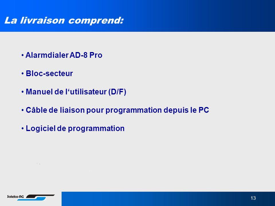 13 La livraison comprend: Alarmdialer AD-8 Pro Bloc-secteur Manuel de lutilisateur (D/F) Câble de liaison pour programmation depuis le PC Logiciel de