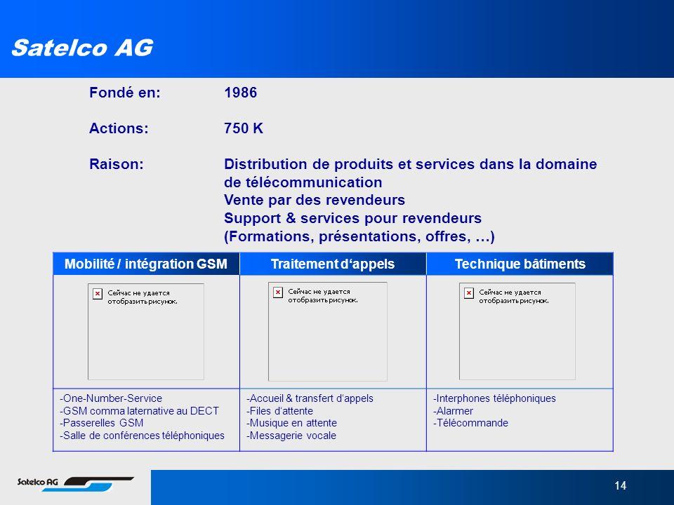 14 Satelco AG Fondé en: 1986 Actions:750 K Raison:Distribution de produits et services dans la domaine de télécommunication Vente par des revendeurs S