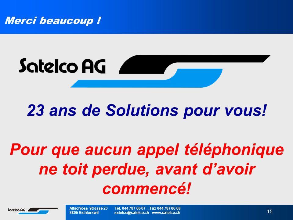 15 Merci beaucoup ! 23 ans de Solutions pour vous! Pour que aucun appel téléphonique ne toit perdue, avant davoir commencé! Altschloss-Strasse 23 Tel.