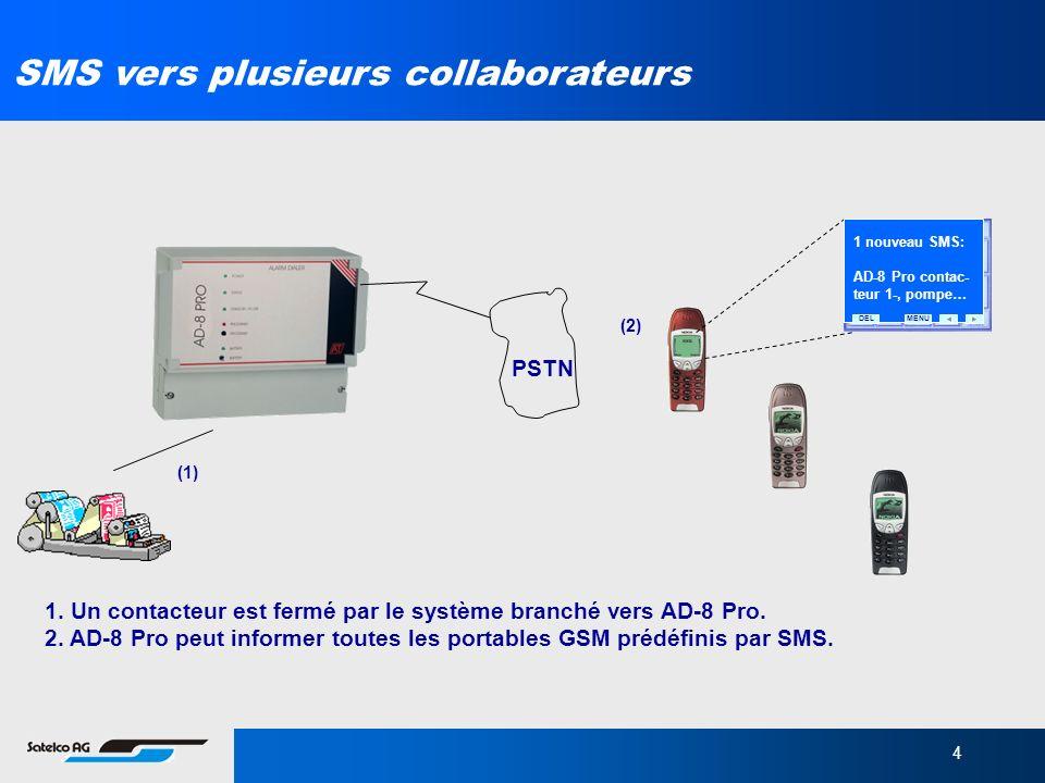 4 1. Un contacteur est fermé par le système branché vers AD-8 Pro. 2. AD-8 Pro peut informer toutes les portables GSM prédéfinis par SMS. PSTN (1) (2)
