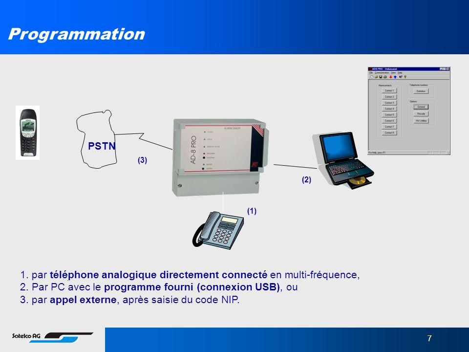 7 Programmation 1. par téléphone analogique directement connecté en multi-fréquence, 2. Par PC avec le programme fourni (connexion USB), ou 3. par app